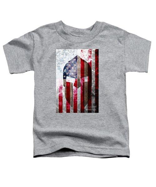 Molon Labe - Spartan Helmet Across An American Flag On Distressed Metal Sheet Toddler T-Shirt