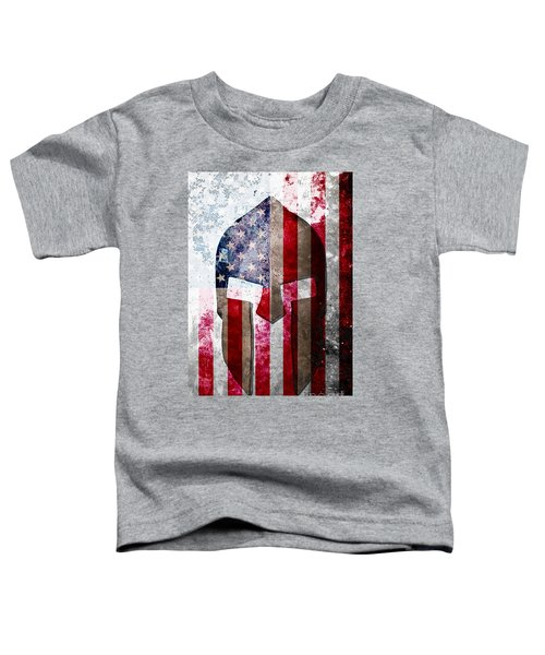 Molon Labe - Spartan Helmet Across An American Flag On Distressed Metal Sheet Toddler T-Shirt