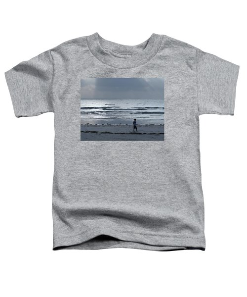 Morning Beach Walk On A Grey Day - Lone Dhow Toddler T-Shirt