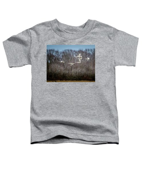 Toddler T-Shirt featuring the photograph Morning Flight Of Tundra Swan by Donald Brown