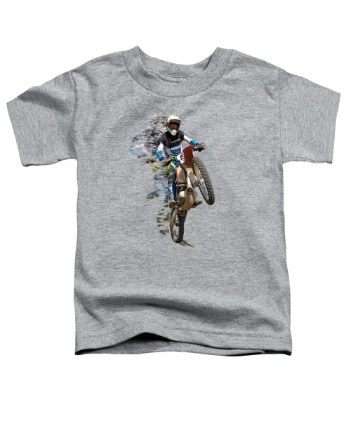 Motocross Rider With Flying Pieces Toddler T-Shirt