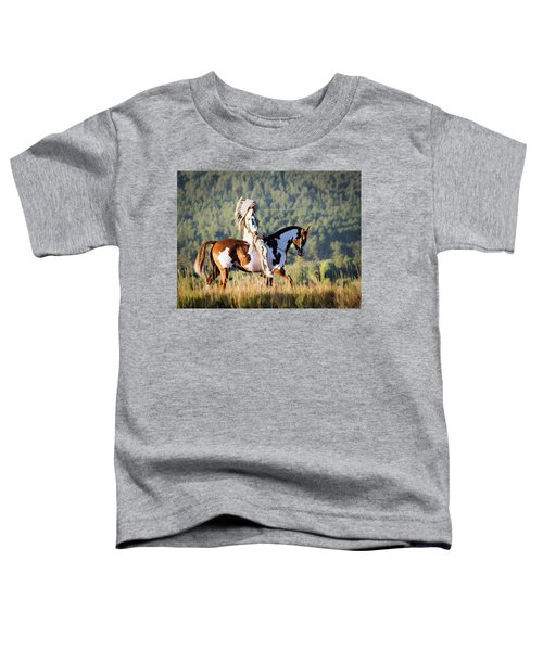 Native American On His Paint Horse Toddler T-Shirt