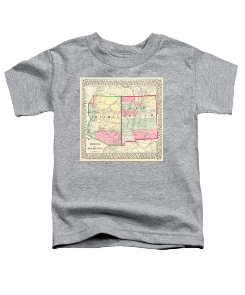 New Mexico And Arizona Map Print From 1867 Toddler T-Shirt
