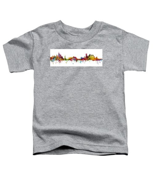 New York And Pittsburgh Skyline Mashup Toddler T-Shirt