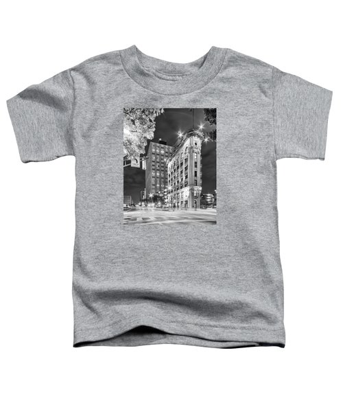 Night Photograph Of The Flatiron Or Saunders Triangle Building - Downtown Fort Worth - Texas Toddler T-Shirt