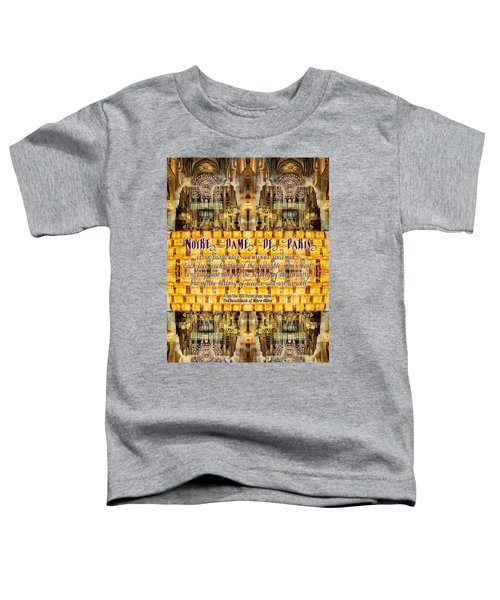 Notre-dame Cathedral Rose Stained Glass Candles Novel Quote Toddler T-Shirt
