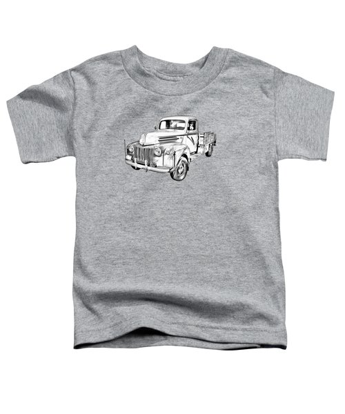 Old Flat Bed Ford Work Truck Illustration Toddler T-Shirt