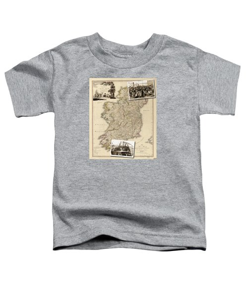 Vintage Map Of Ireland With Old Irish Woodcuts Toddler T-Shirt