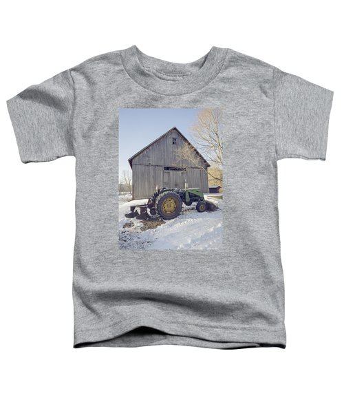 Old Tractor By The Barn Winter Etna Toddler T-Shirt