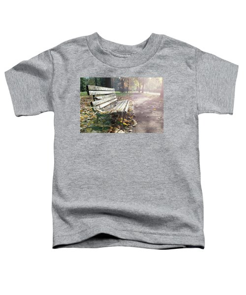 Rustic Wooden Bench During Late Autumn Season On Bright Day Toddler T-Shirt