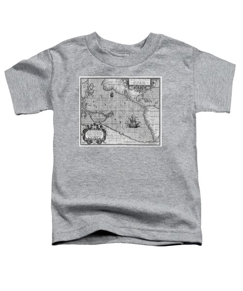 Old World Map Print From 1589 - Black And White Toddler T-Shirt