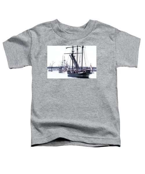 Toddler T-Shirt featuring the photograph Oosterschelde Leaving Port by Stephen Mitchell