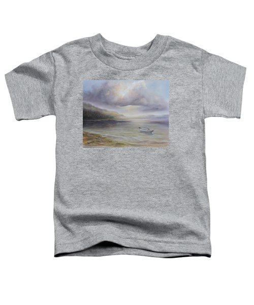 Beach By Sruce Run Lake In New Jersey At Sunrise With A Boat Toddler T-Shirt