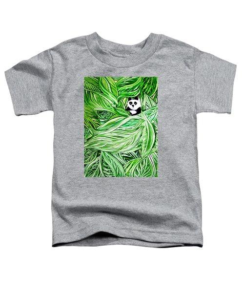 Panda Bear Sitting In Leaves Alcohol Inks Toddler T-Shirt