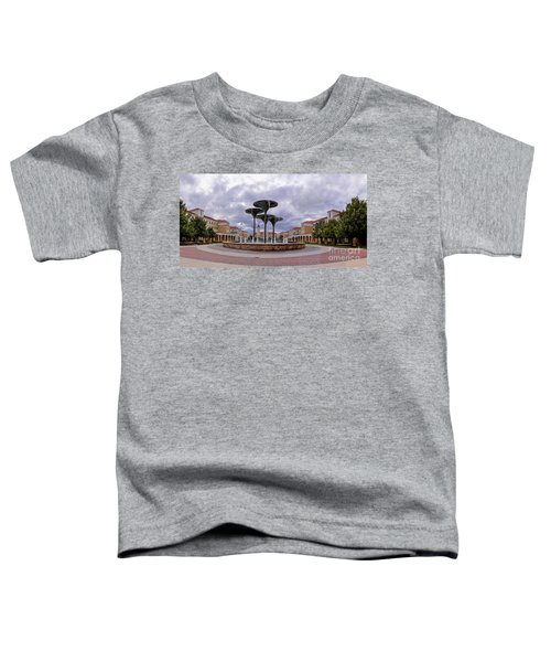 Panorama Of Texas Christian University Campus Commons And Frog Fountain - Fort Worth Texas Toddler T-Shirt