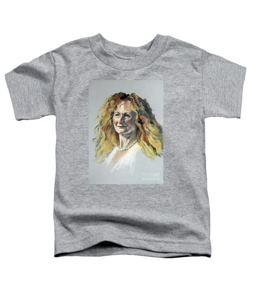 Pastel Portrait Of Woman With Frizzy Hair Toddler T-Shirt
