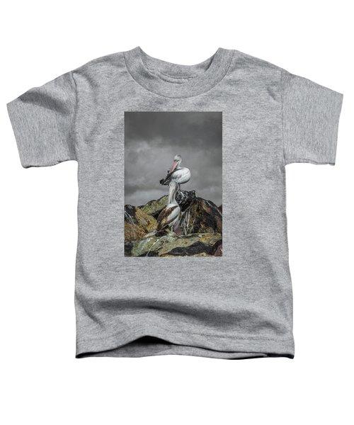 Pelicans On Rocks Toddler T-Shirt