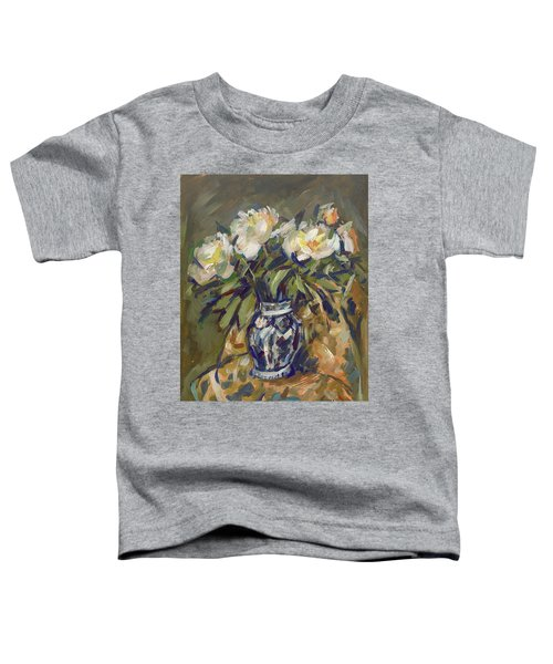Peonies In Delft Blue Vase On Quilt Toddler T-Shirt
