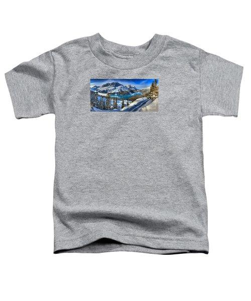 Peyto Lake Winter Panorama Toddler T-Shirt