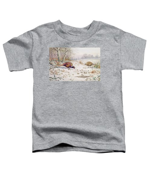 Pheasant And Partridge Eating  Toddler T-Shirt by Carl Donner