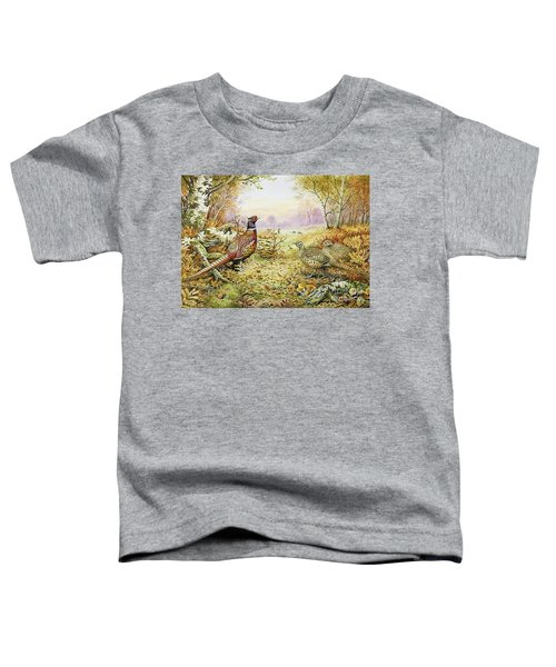 Pheasants In Woodland Toddler T-Shirt by Carl Donner