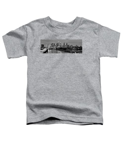 Philadelphia Philly Skyline At Dusk From Near South Bw Black And White Panorama Toddler T-Shirt by Jon Holiday