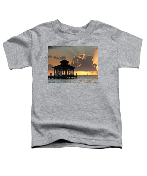 Pier Palapa And Distant Sailboat Toddler T-Shirt