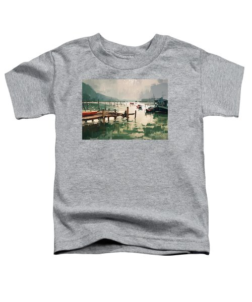 Toddler T-Shirt featuring the painting Pier by Tithi Luadthong