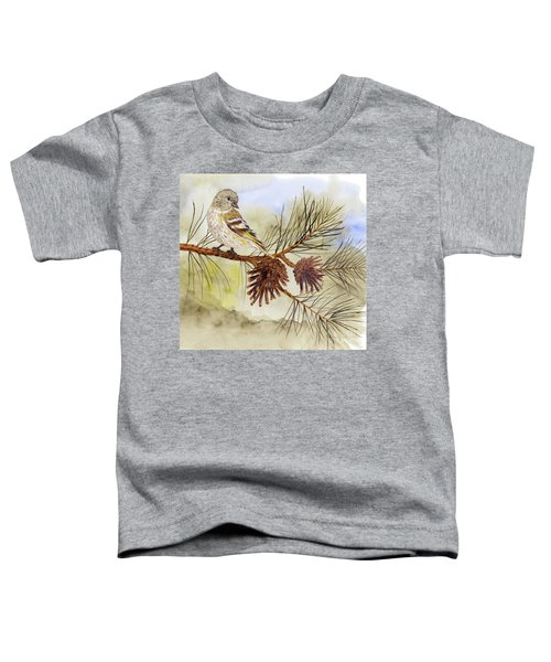 Pine Siskin Among The Pinecones Toddler T-Shirt