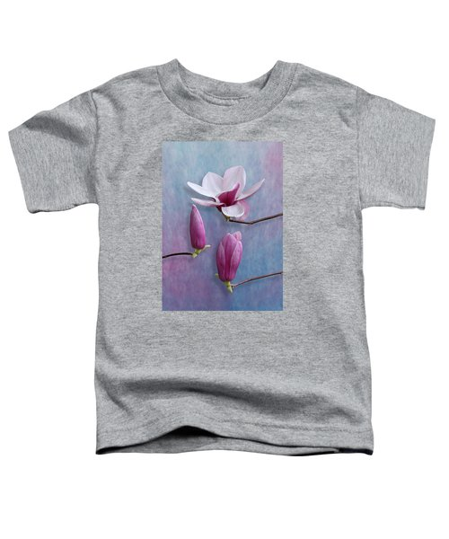 Pink Chinese Magnolia Flower With Two Buds Toddler T-Shirt