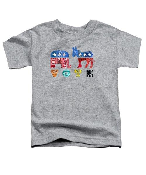 Political Party Election Vote Republican Vs Democrat Recycled Vintage Patriotic License Plate Art Toddler T-Shirt