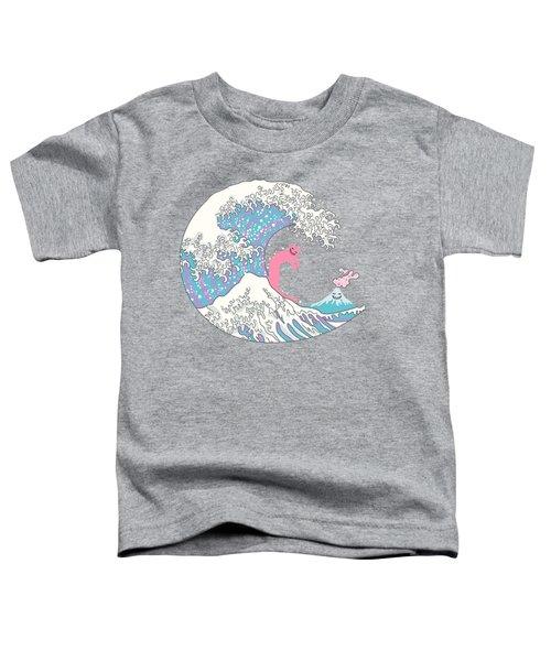 Psychodelic Bubblegum Kunagawa Surfer Cat Toddler T-Shirt by Julia Jasiczak