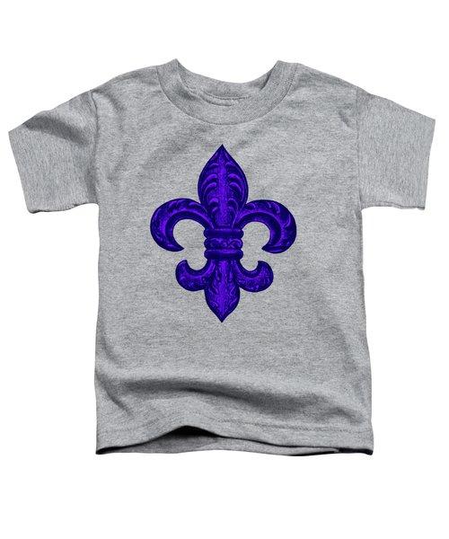 Purple French Fleur De Lys, Floral Swirls Toddler T-Shirt by Tina Lavoie