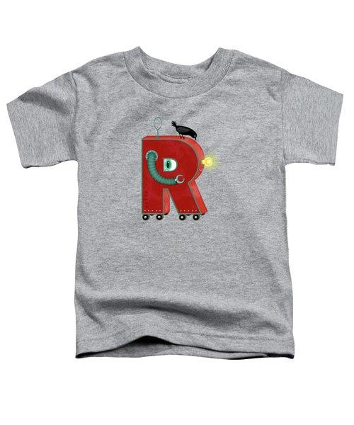 R Is For Robot Toddler T-Shirt by Valerie Drake Lesiak