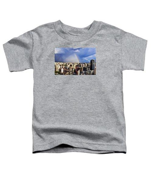 Rainbow Over City Skyline - Sao Paulo Toddler T-Shirt