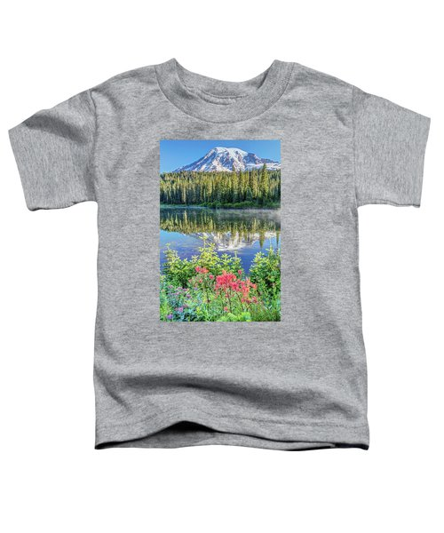 Rainier Wildflowers At Reflection Lake Toddler T-Shirt