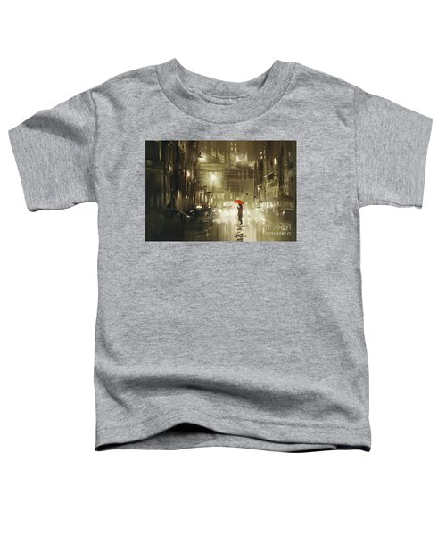 Toddler T-Shirt featuring the painting Rainy Night by Tithi Luadthong