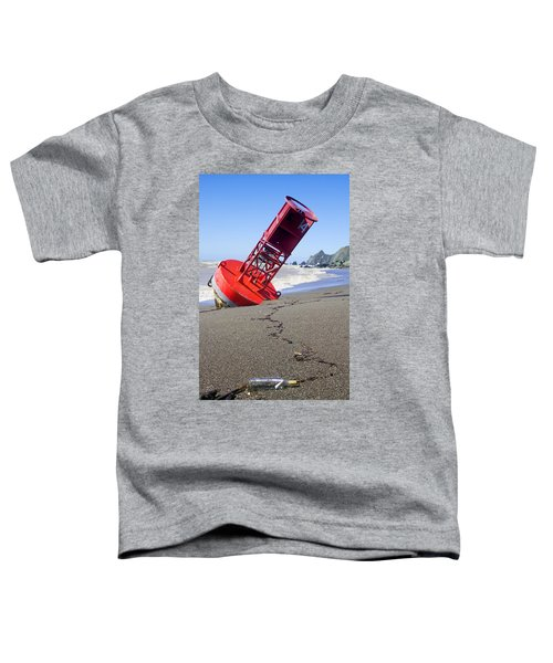 Red Bell Buoy On Beach With Bottle Toddler T-Shirt