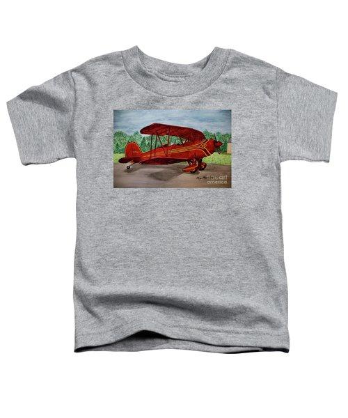 Red Biplane Toddler T-Shirt by Megan Cohen