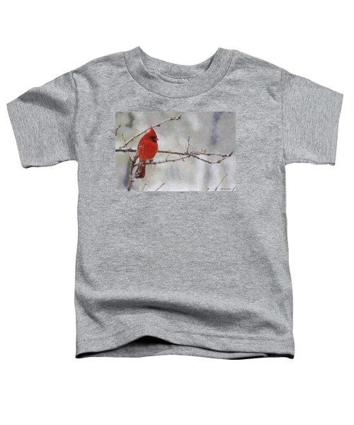 Red Bird Of Winter Toddler T-Shirt