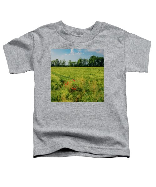 Red Poppies On A Green Wheat Field Toddler T-Shirt