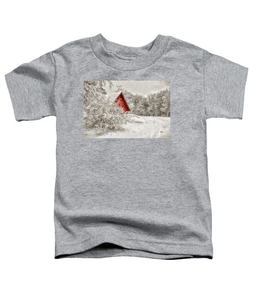 Red Shed In The Snow Toddler T-Shirt