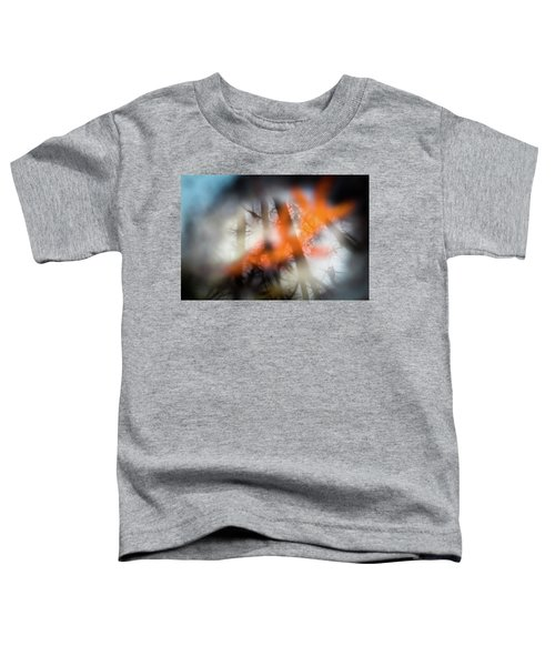 Reflection Of Trees Over An Oak Leaf Encased In Water And Ice Toddler T-Shirt