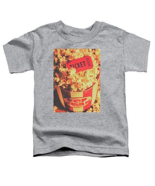 Retro Film Stub And Movie Popcorn Toddler T-Shirt