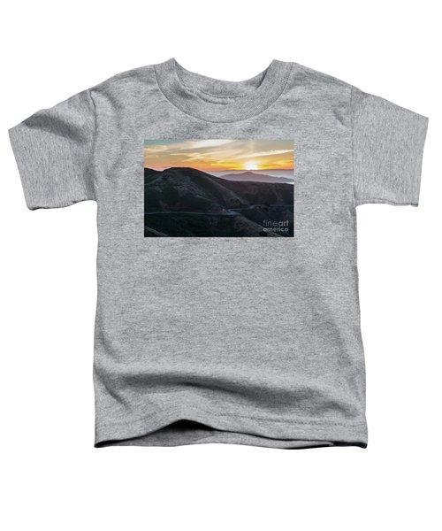Road On The Edge Of The Mountain With Sunrise In The Background Toddler T-Shirt