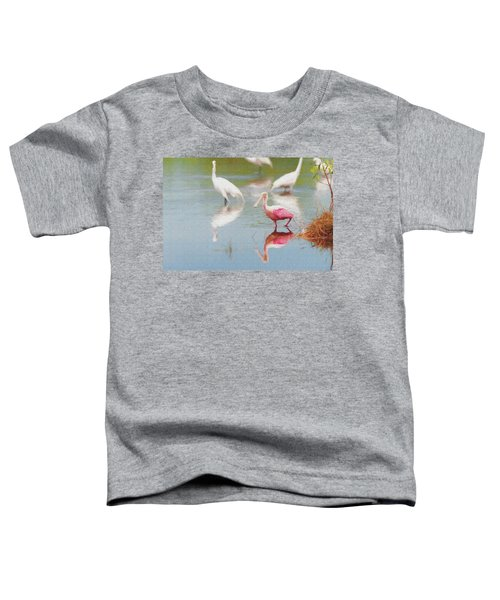 Roseate Spoonbill Eating In A Lagoon With Other Egrets Toddler T-Shirt