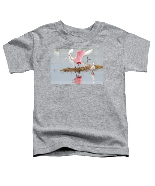 Roseate Spoonbill Flapping Wing While Looking For Food Toddler T-Shirt