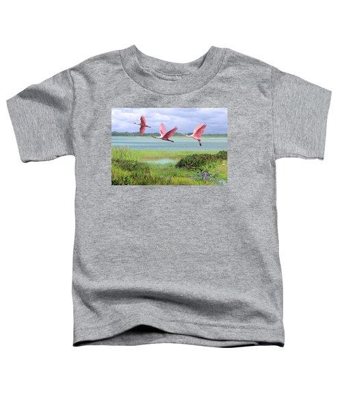 Roseate Spoonbills Of Florida Bay Toddler T-Shirt