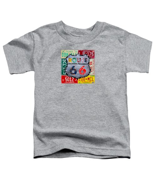 Route 66 Highway Road Sign License Plate Art Toddler T-Shirt by Design Turnpike