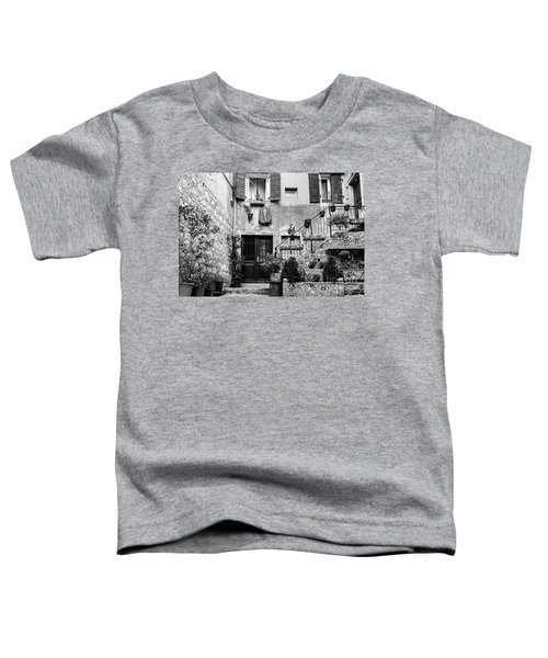 Rovinj Old Town Courtyard In Black And White, Rovinj Croatia Toddler T-Shirt